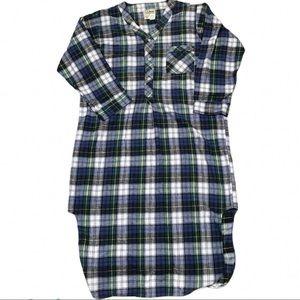 Vintage LL Bean Scotch Plaid Flannel Night Gown